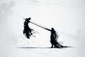Sephiroth Impaling Cloud Shadow Minimalism